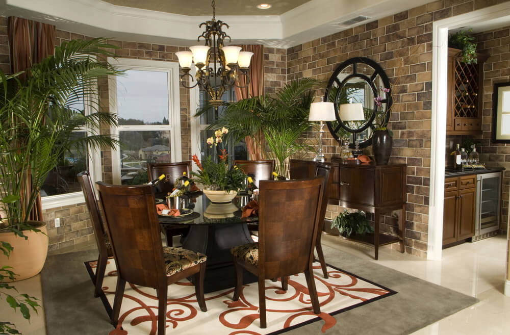 Cozy Dining Room With Brick Walls And Large Square Grey, Red, Black And Red