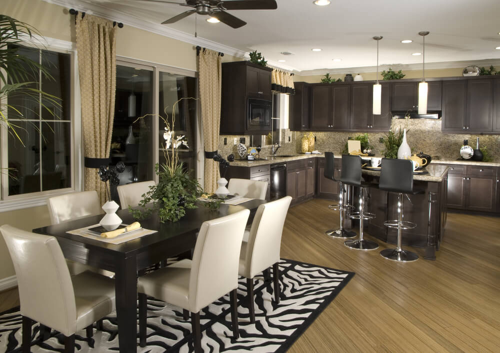 Open concept kitchen and dining area. 126 Custom Luxury Dining Room Interior Designs