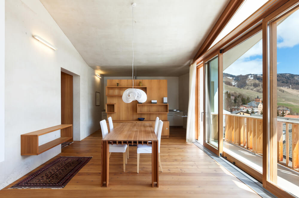 minimalist white and wood dining room with windows and sliding glass - White Wood Dining Chairs