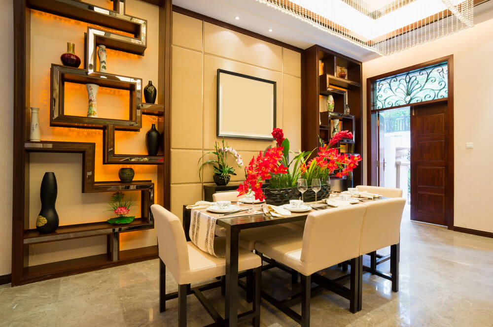 Asian Inspired Dining Room Just Off The Foyer Of Luxury Home. Custom  Patterned Shelving Part 49