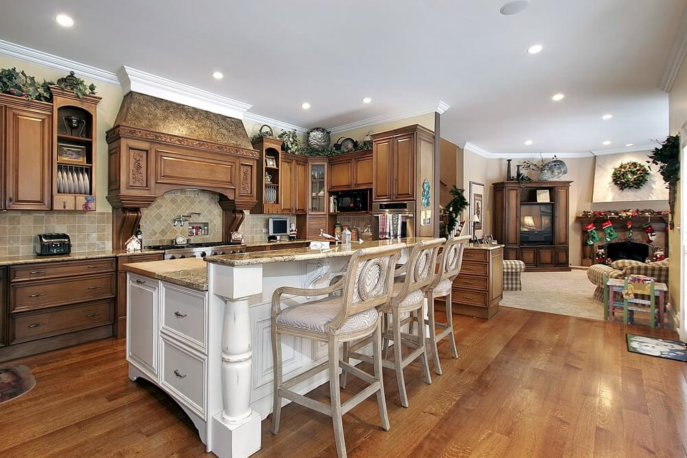 Natural Wood Kitchen With White Island