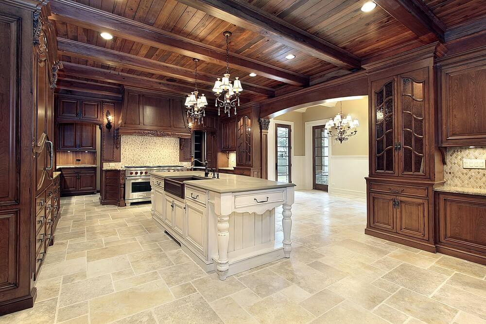 Dark Wood Ceiling 64 deluxe custom kitchen island designs (beautiful)