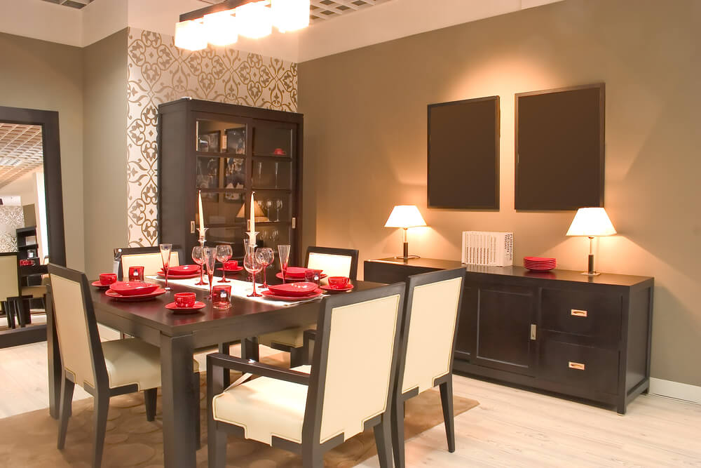Asian Inspired Dining Room Design With Matching Dark Wood Furniture