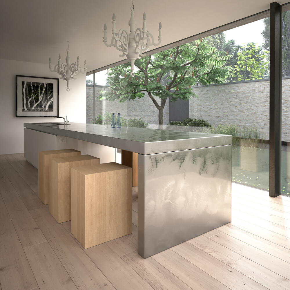 Kitchen island custom designs - Modern Kitchen With Stainless Steel Island