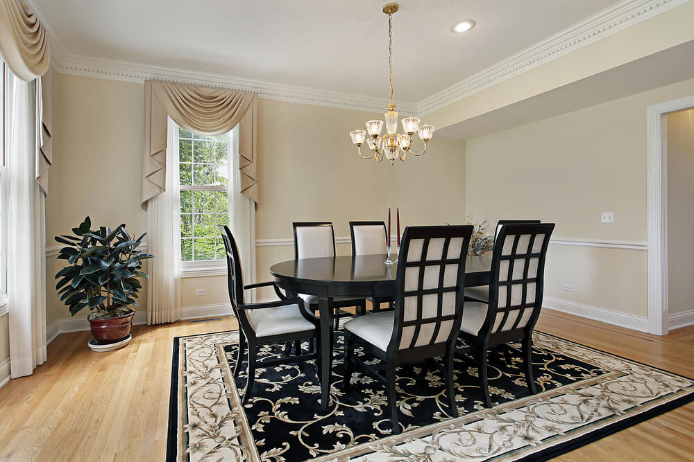 Formal Dining Room With Very Light Beige Walls, White Ceiling And Trim And  Light Wood Part 77