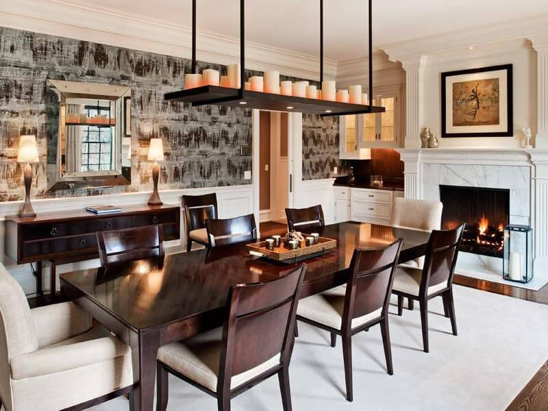 Luxury dining rooom design with rugs