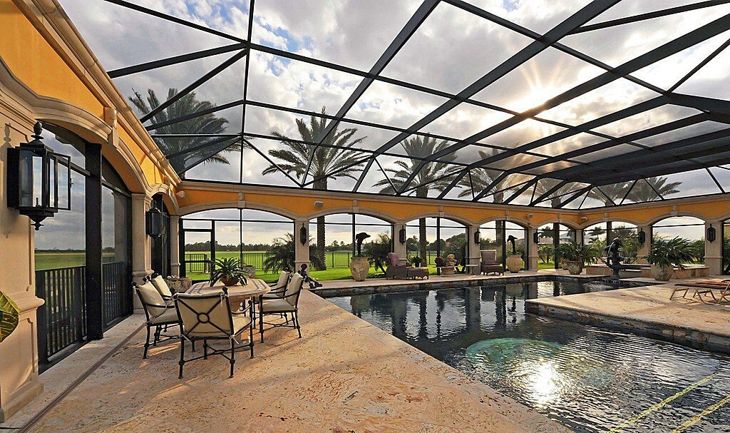 45 screened in covered and indoor pool designs Screens for outdoor areas