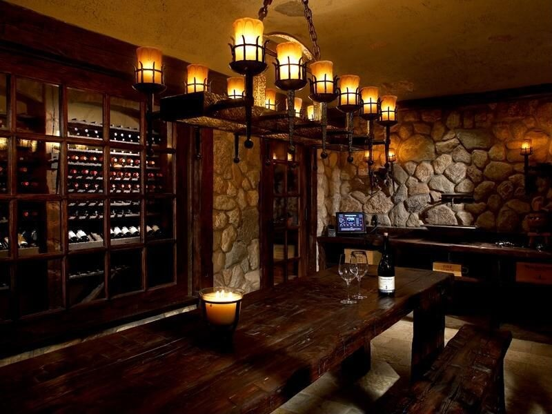 Large Wine Tasting Room Design In Stone And Wood With One
