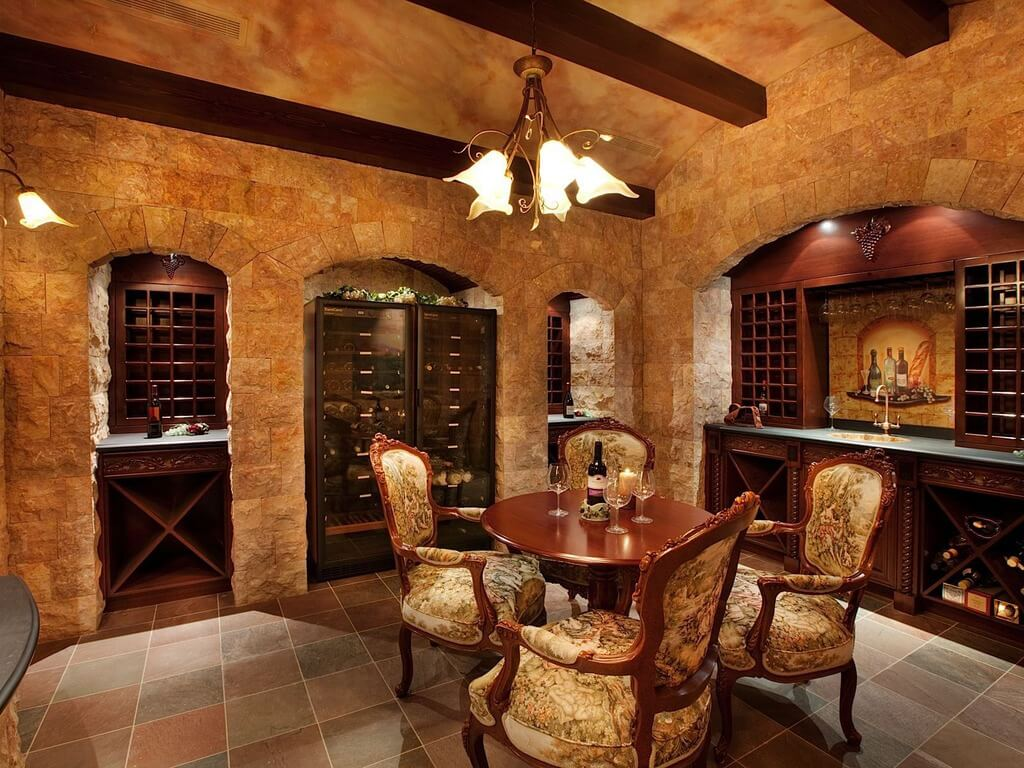 Luxurious Brick And Wood Wine Cellar And Tasting Room In A