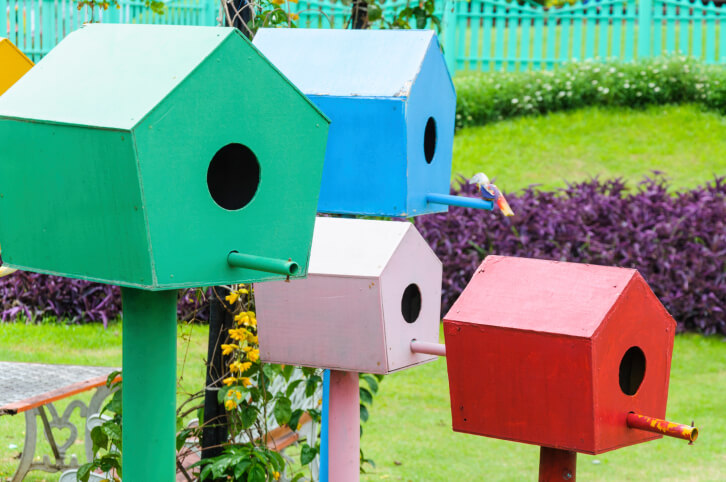 a bird house garden a series of 5 painted bird houses on painted posts situated - Birdhouse Design Ideas