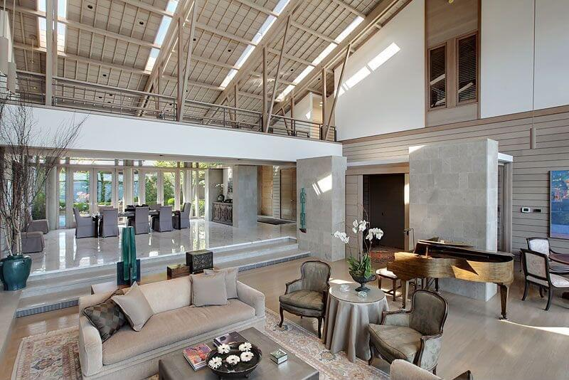 A Gargantuan Open Living Space With Walkway Contributing Dividing The Between Room And