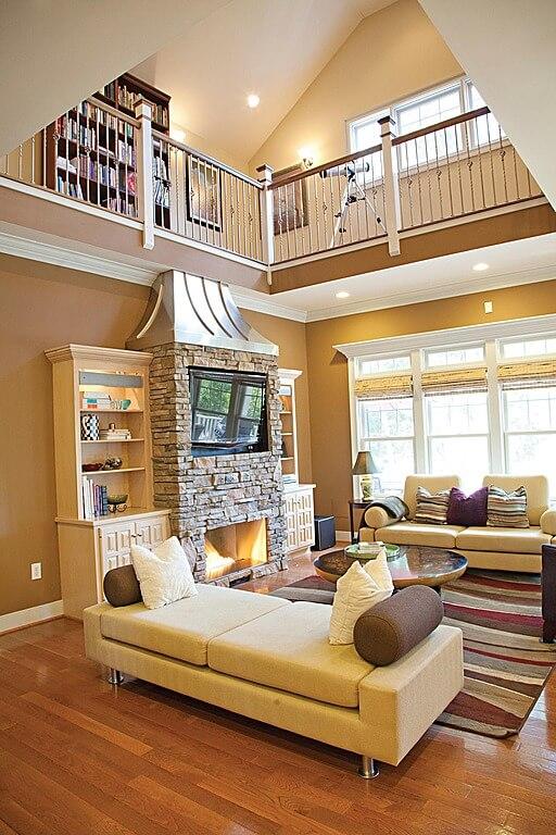 54 lofty loft room designs for Upper living room designs
