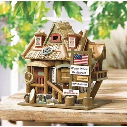 Bird house resembling a restaurant that can be placed on a stand or  suspended from a