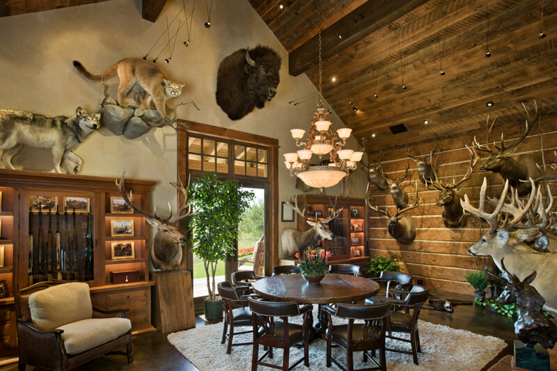 Old river farm residence a stunning custom mountain for Trophy room design