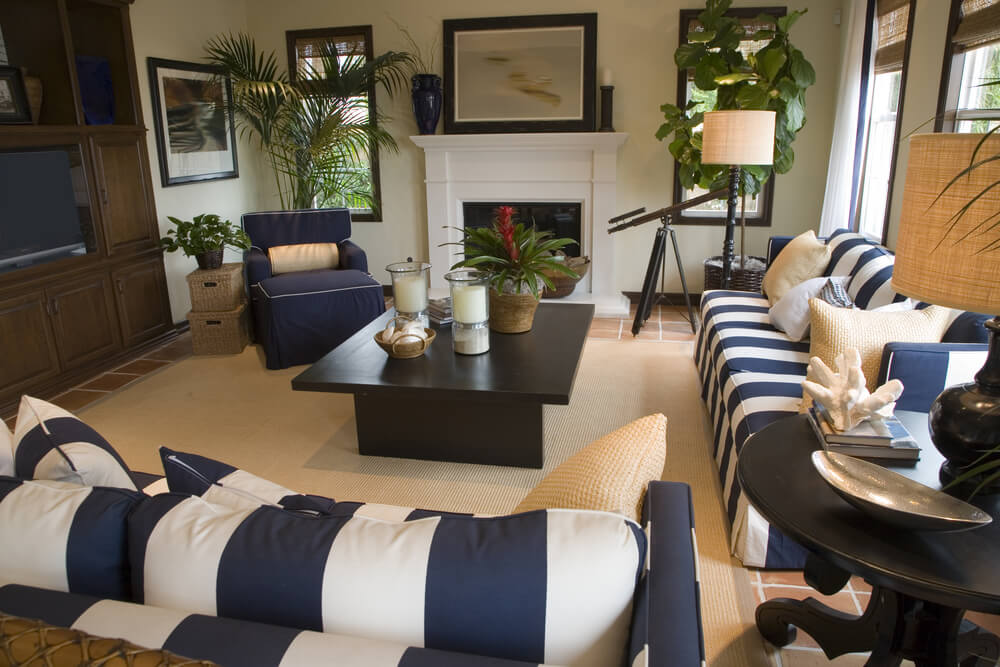 Large Family And Living Room Combo With Two White Blue Striped Sofas