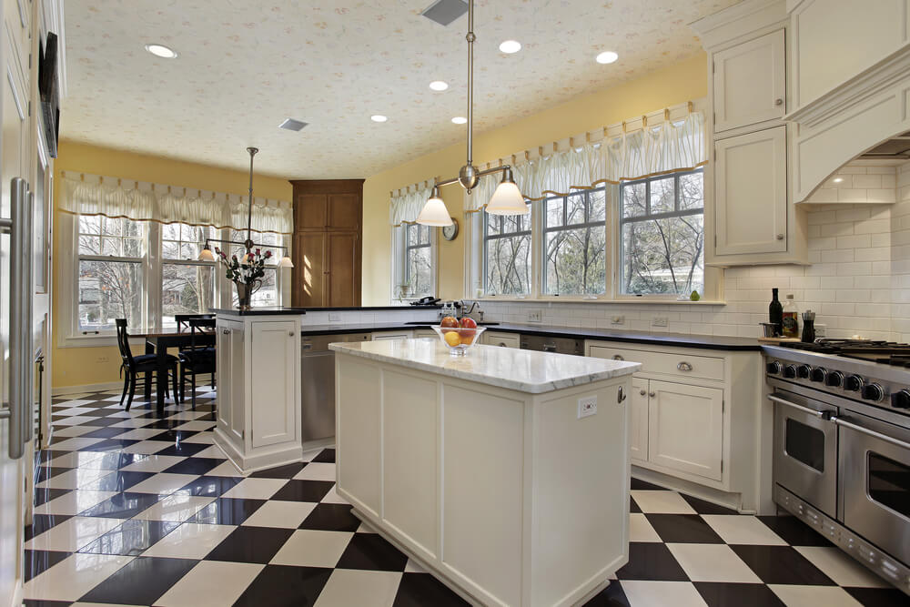 kitchens with white cabinets and tile floors. large kitchen with black and white checkered floor yellow walls rest of built kitchens cabinets tile floors