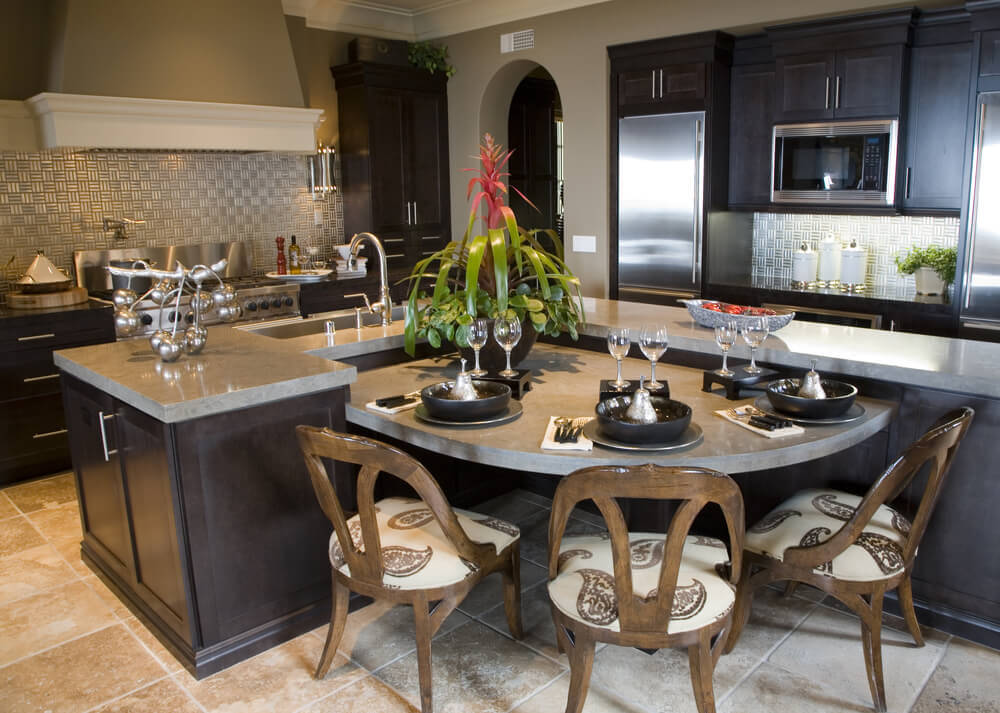 large l shaped custom kitchen with l shaped island that includes a lower semi - Eat In Kitchen Table
