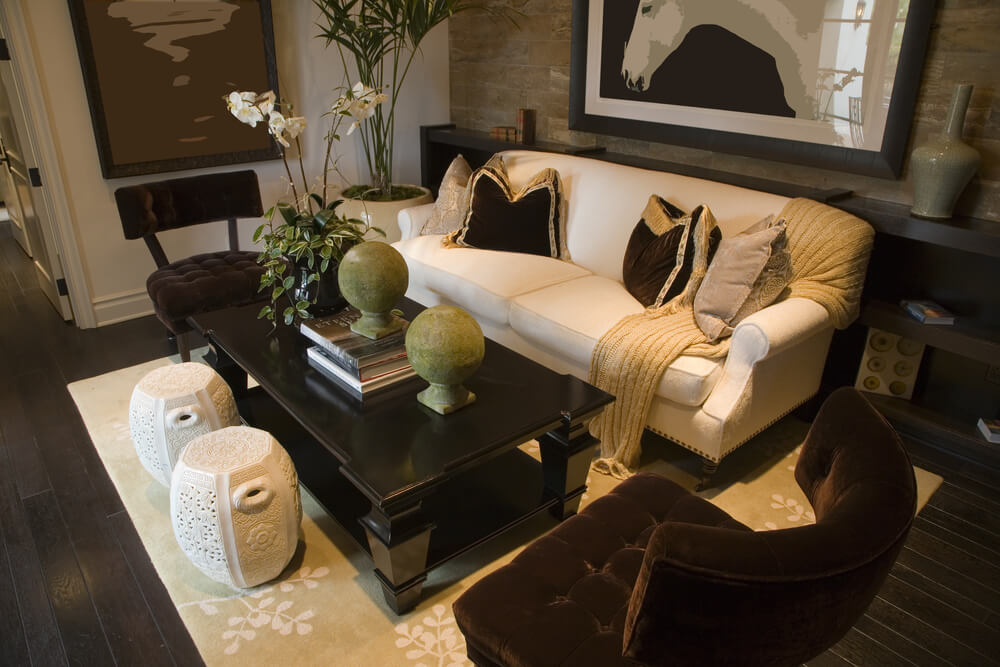 Asian Inspired Living Room Design With White Sofa Decorated With Black And  Gold Pillows. Part 37