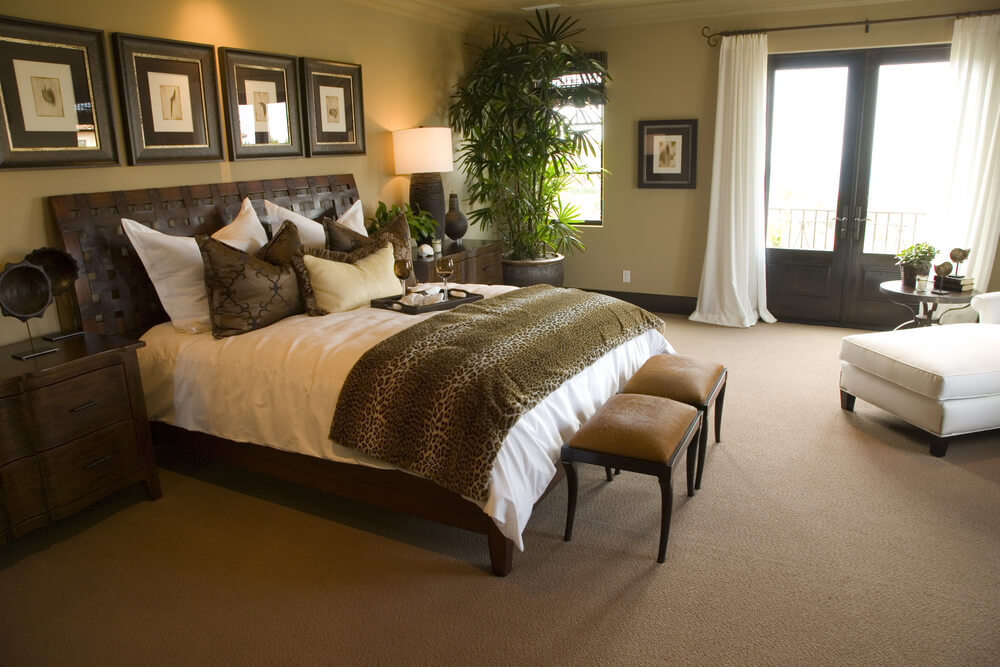This bedroom is another example of matching the leopard print colors with tables  bed frame