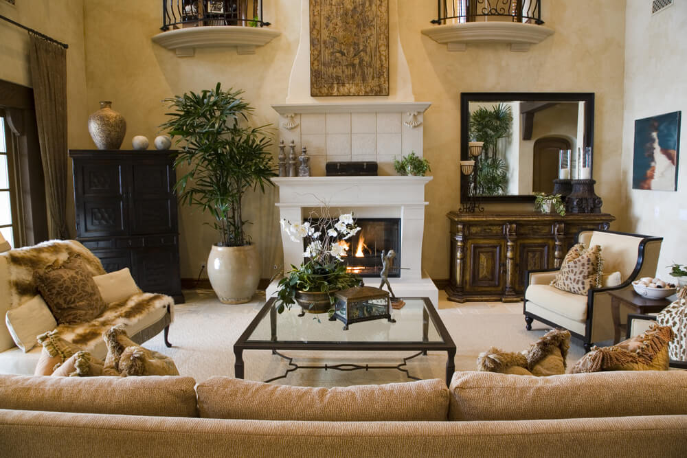 Large Mediterranean Style Living Room Design Part 77