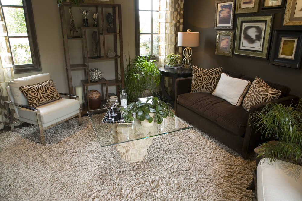 This living room features an exotic look courtesy of animal-print pillows, thick shag carpeting, sculpted coffee table base with glass surface, and natural wood curio shelf.