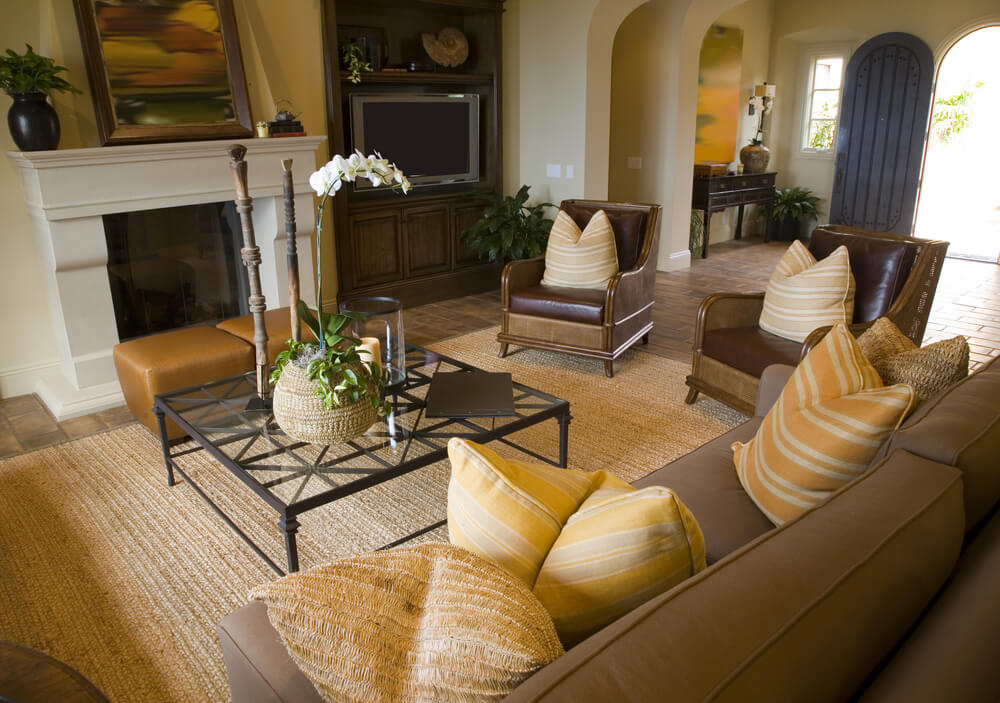 Living Room In Brown And Yellow Color Scheme Walls Pillows Brighten Up The