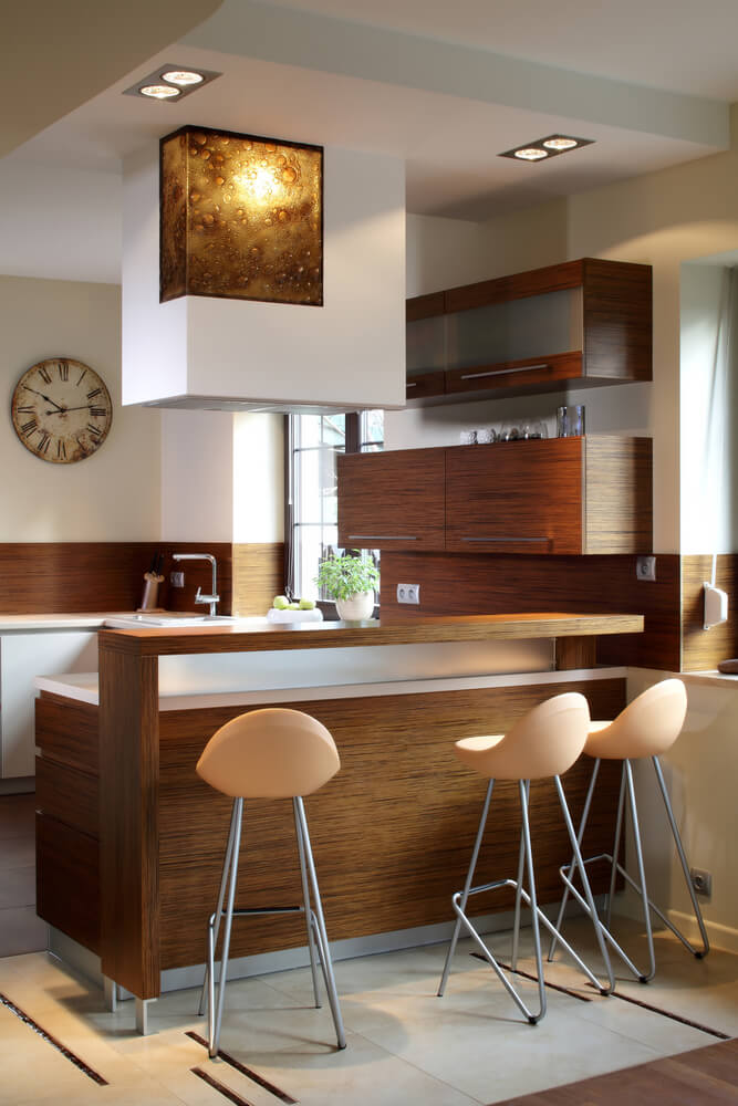small modern kitchen design in natural wood tones and white walls