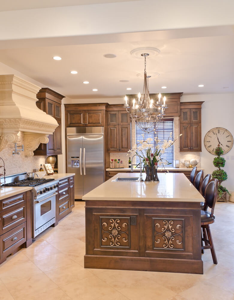 you dont see stove hoods like that in every kitchen turning this from a - Eclectic Kitchen Cabinets