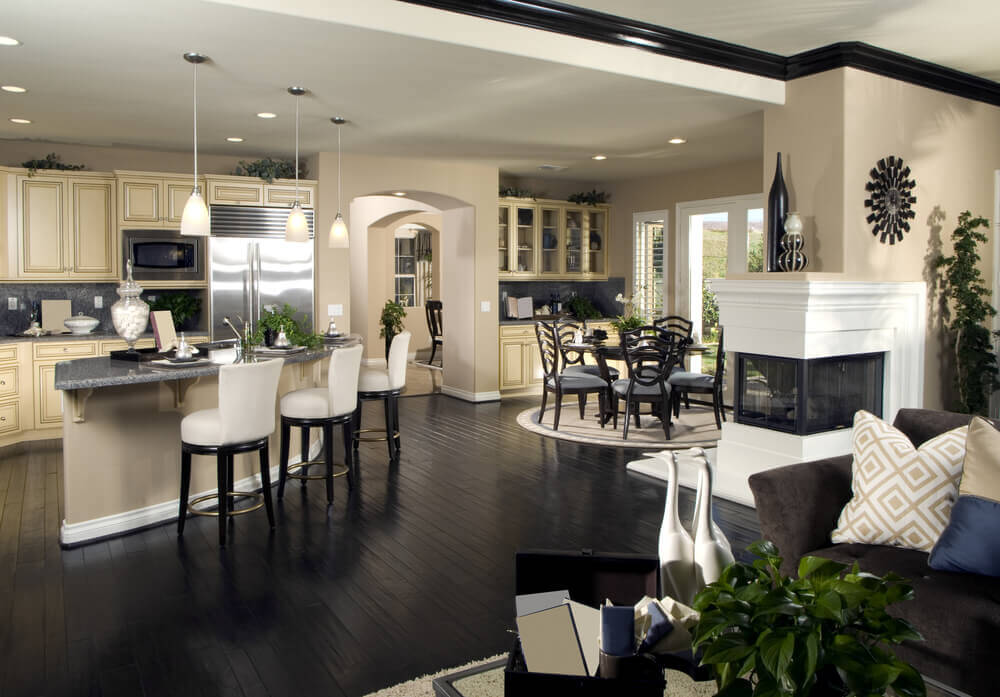 Another exercise in contrast, this kitchen is part of a large open central home design.