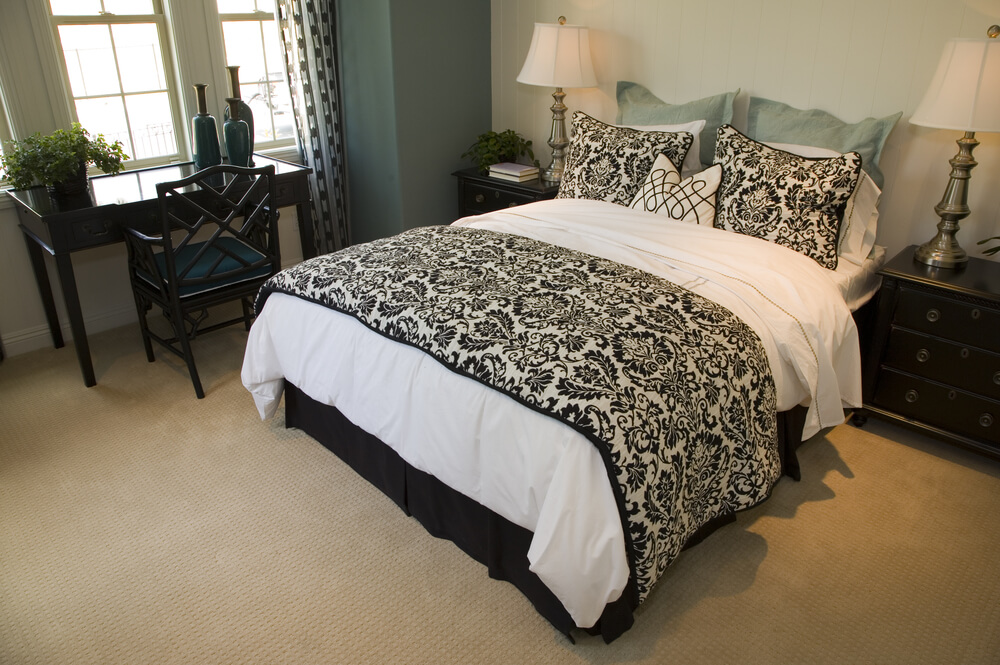 50 professionally decorated master bedroom designs photos for Black white taupe bedroom