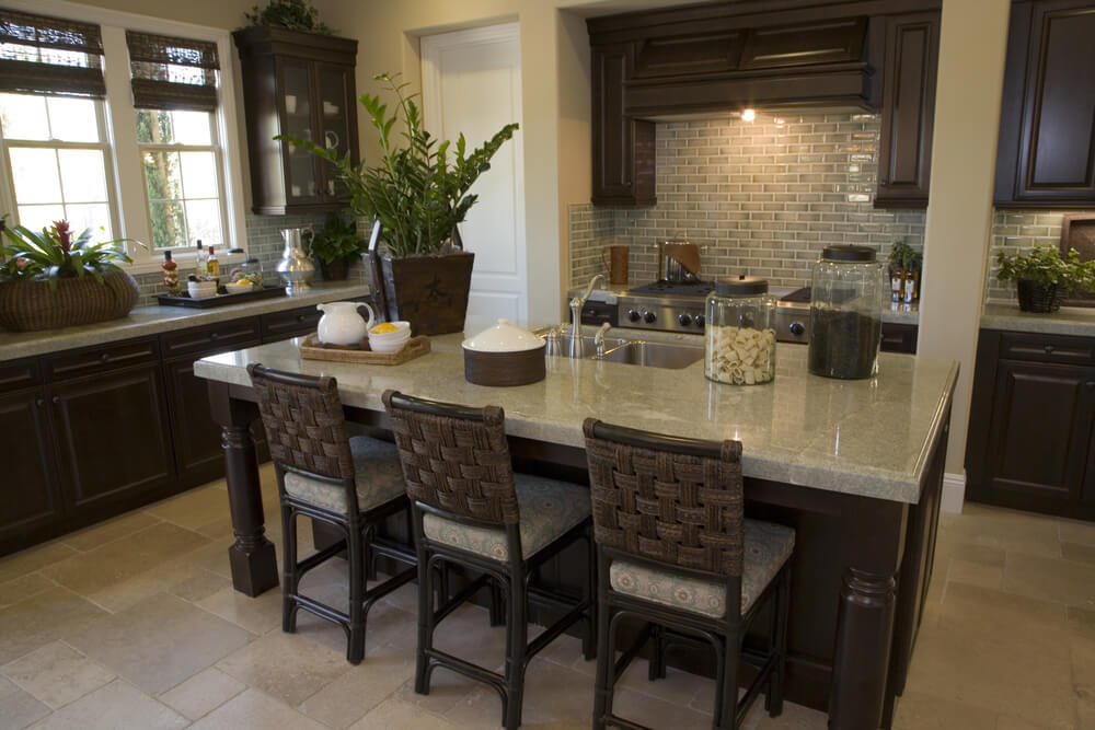 Large L Shaped Kitchen With A Long And Deep Kitchen Island One Side Of