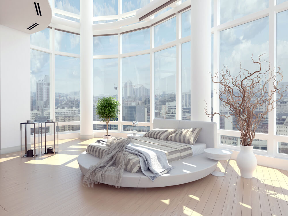 White bedroom with cathedral glass walls. 61 Bright   Cheery White Bedroom Designs