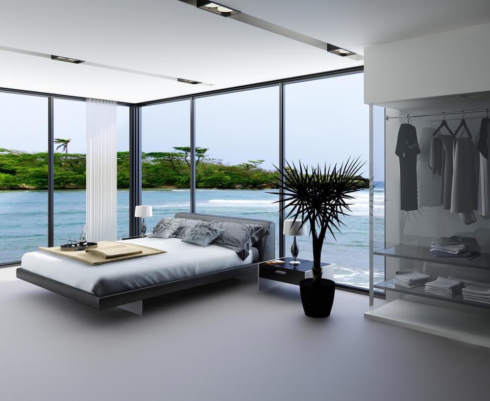 61 bright cheery white bedroom designs - Amazing floor to ceiling windows design ...