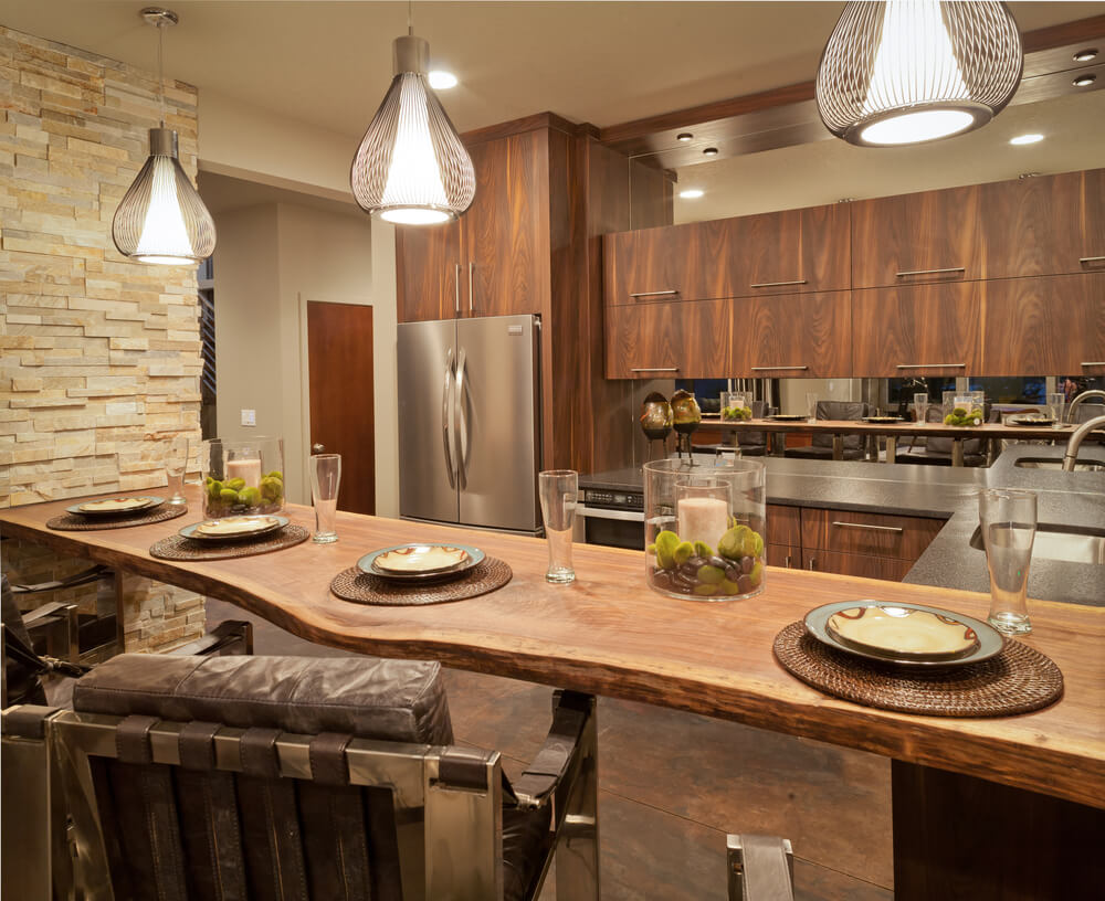 eat in custom kitchen designs eat in kitchen table U shaped kitchen with natural wood plank for eat in kitchen counter