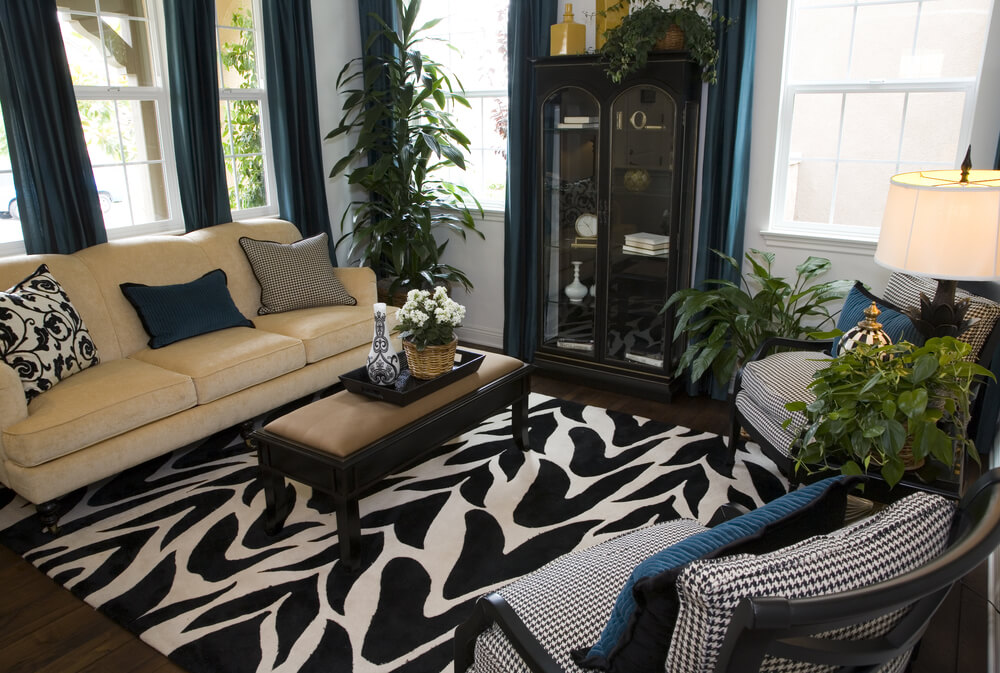 ... match the rug offset with a beige sofa. Blue drapes and pillows add