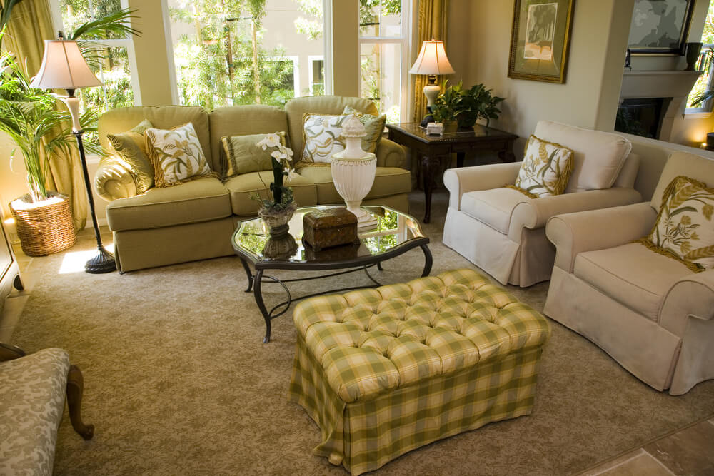 Living Room Design In Light Brown Green And Yellow Color Scheme