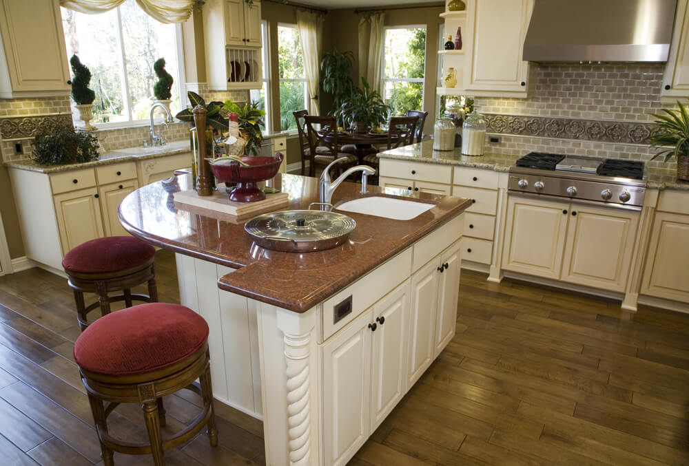 Pie Slice Shaped White Kitchen Island Designed For A Small Eat In Area On  The Part 23