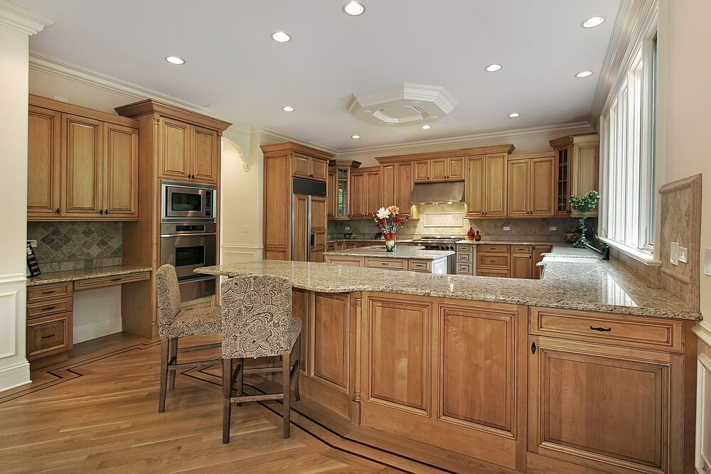 Another Kitchen Unified By The Use Of Natural Wood Tones On The Majority Of  Its Surfaces
