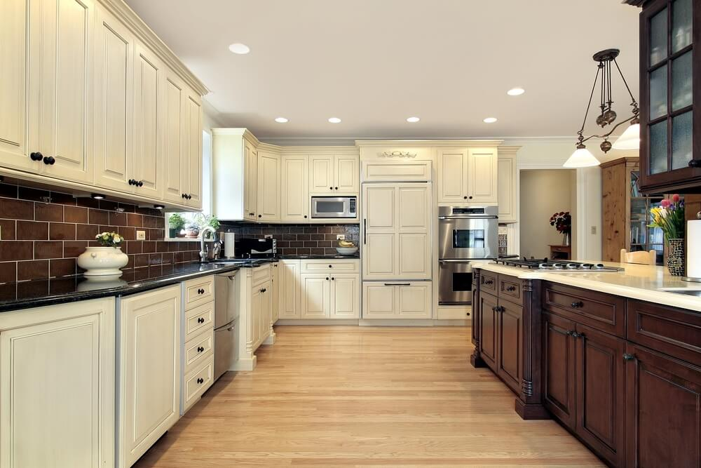31 new custom white kitchens with wood islands for Dark kitchen cabinets light island