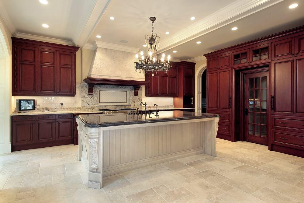 53 spacious new construction custom luxury kitchen designs - Dark wood cabinets kitchen design ...