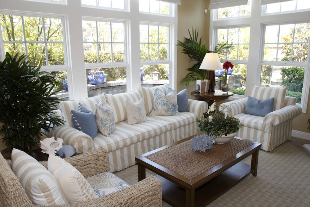 Striped Tan And Brown Loveseats And Matching Chairs