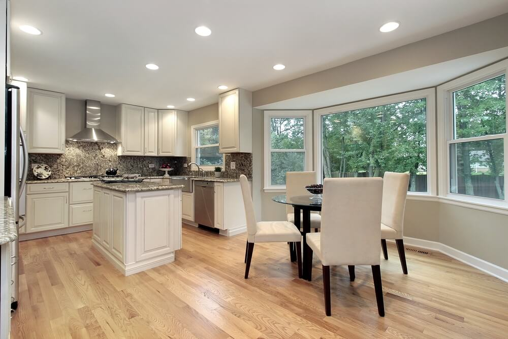 Light Hardwoord Floors In Kitchen With White Cabinets
