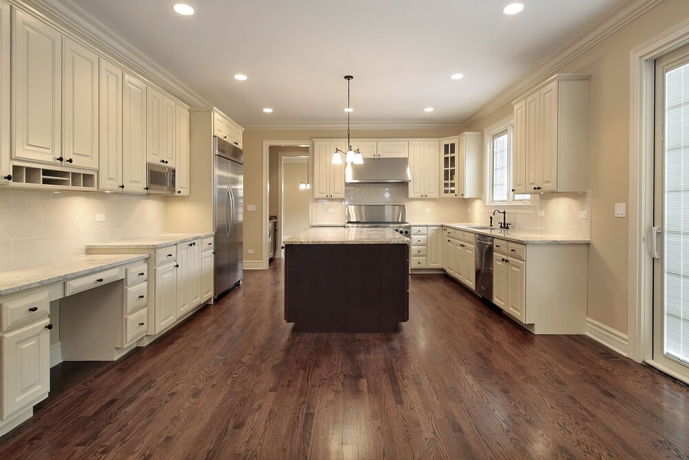 kitchen design hardwood floors 31 quot new quot custom white kitchens with wood islands 366