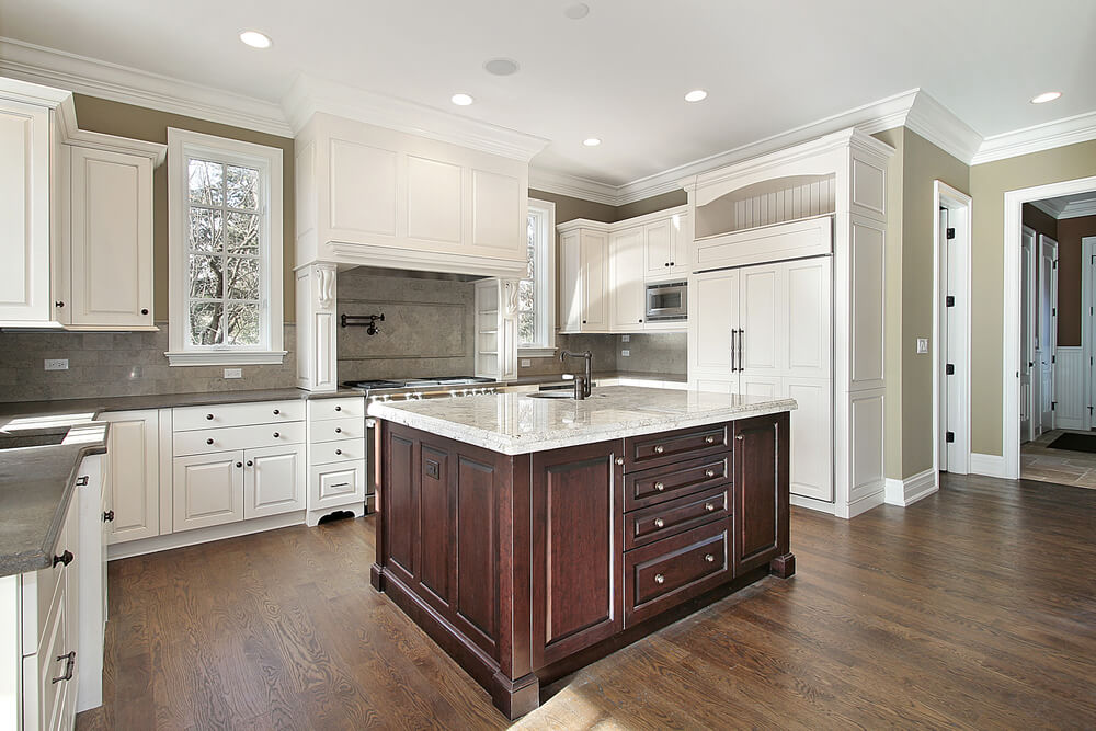 "terrific wood countertop white kitchen island | 31 ""New"" Custom White Kitchens with Wood Islands"