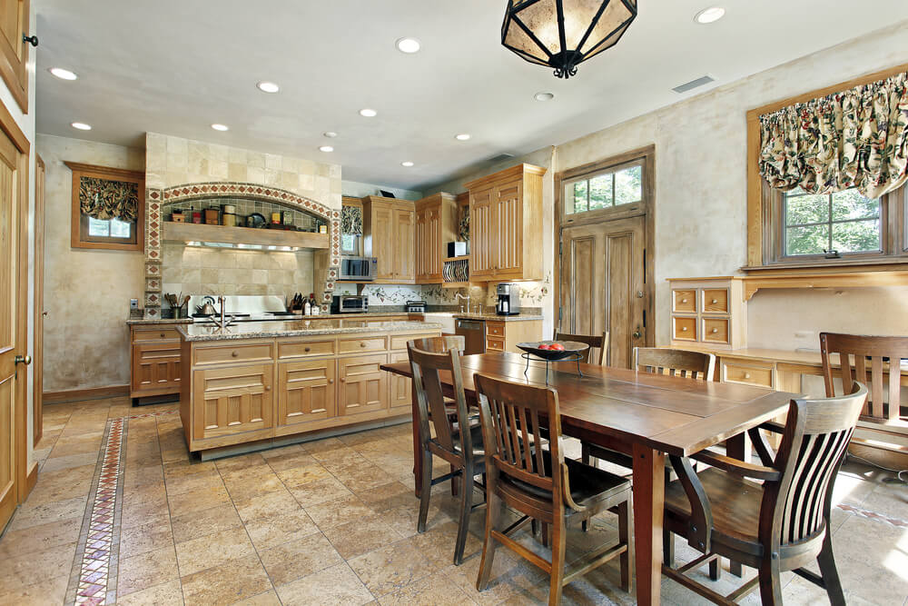 This Old Fashioned Tile Floor Kitchenu0027s Wide Open Design Is Complimented By  Light Wood Cabinetry And