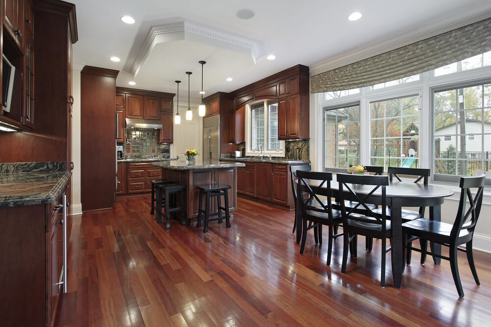 43 new and spacious darker wood kitchen designs layouts for Floors to match cherry cabinets