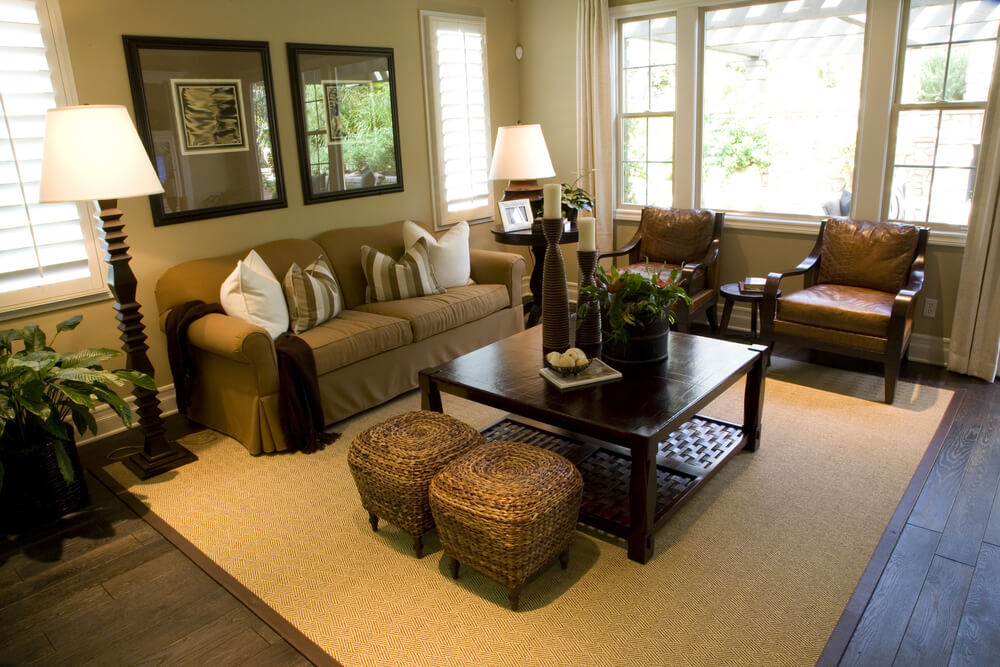 Here we have an example of a living room carved out of a larger space.