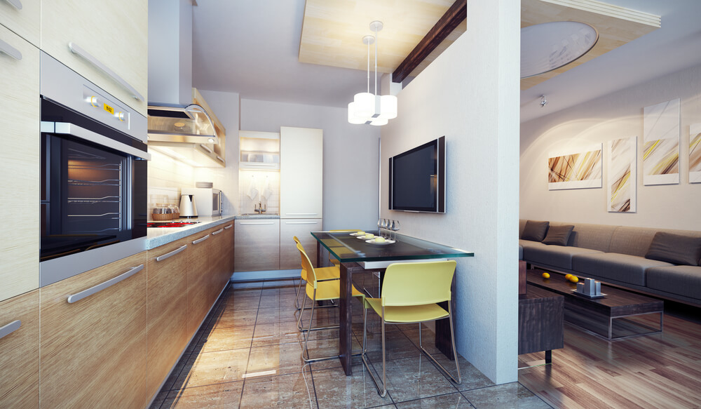 Small Kitchen And Eating Area In An Apartment