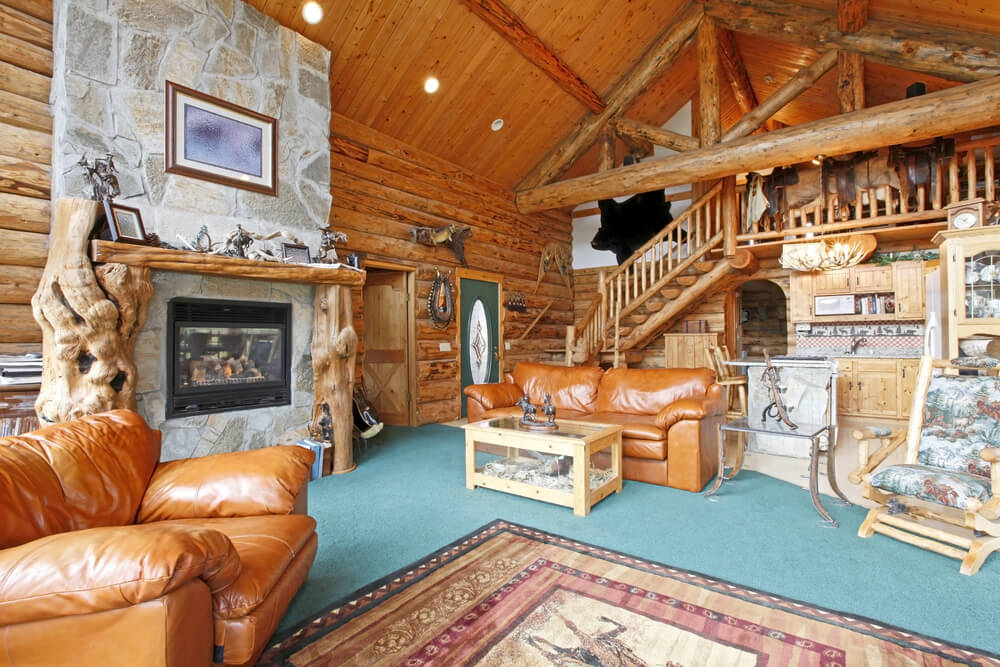 Loft in large log home