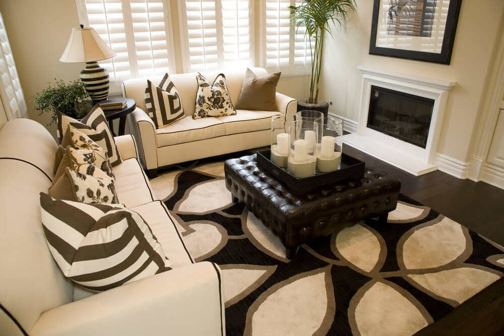 Small living room with black and off white patterned rug  The two sofas are47 Beautifully Decorated Living Room Designs. Decorating Ideas For Small Living Rooms. Home Design Ideas